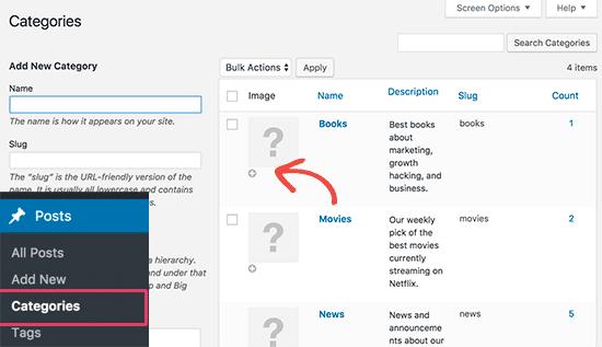Как добавить иконки к рубрикам в WordPress